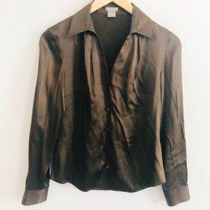 Ann Taylor Petites Silk Brown Blouse | Sz 4P